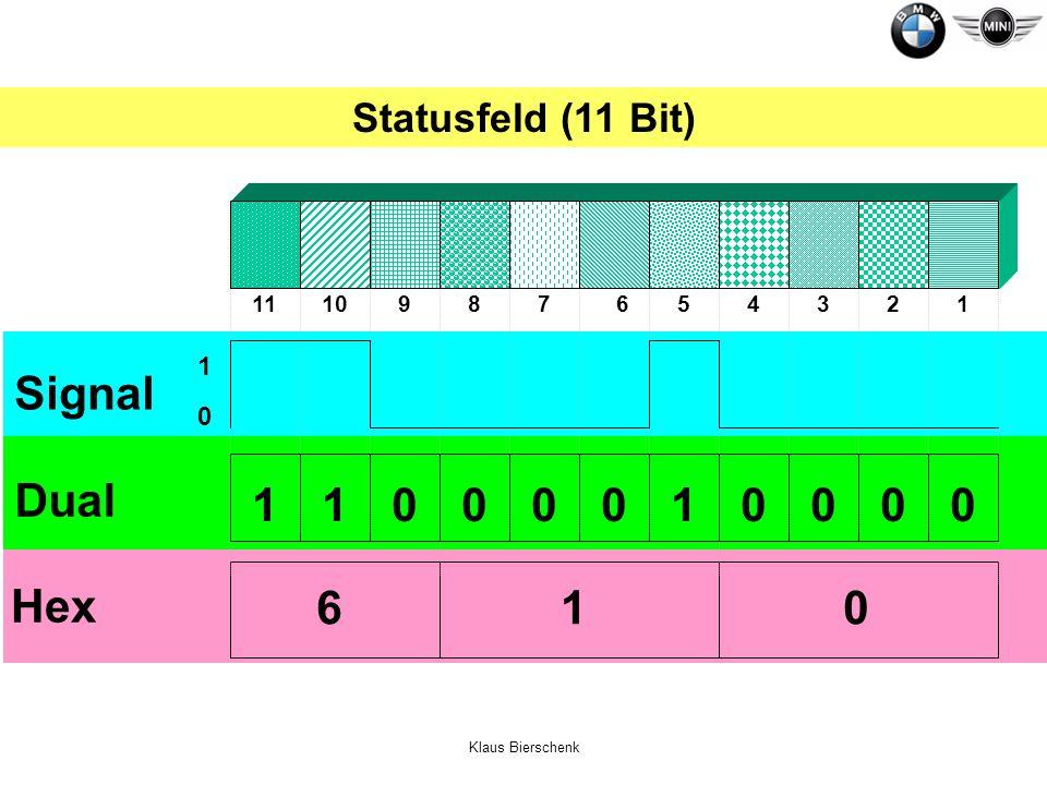 Klaus Bierschenk Dual 0 1 Signal 00010000110 Hex 610 1234567891011 Statusfeld (11 Bit)