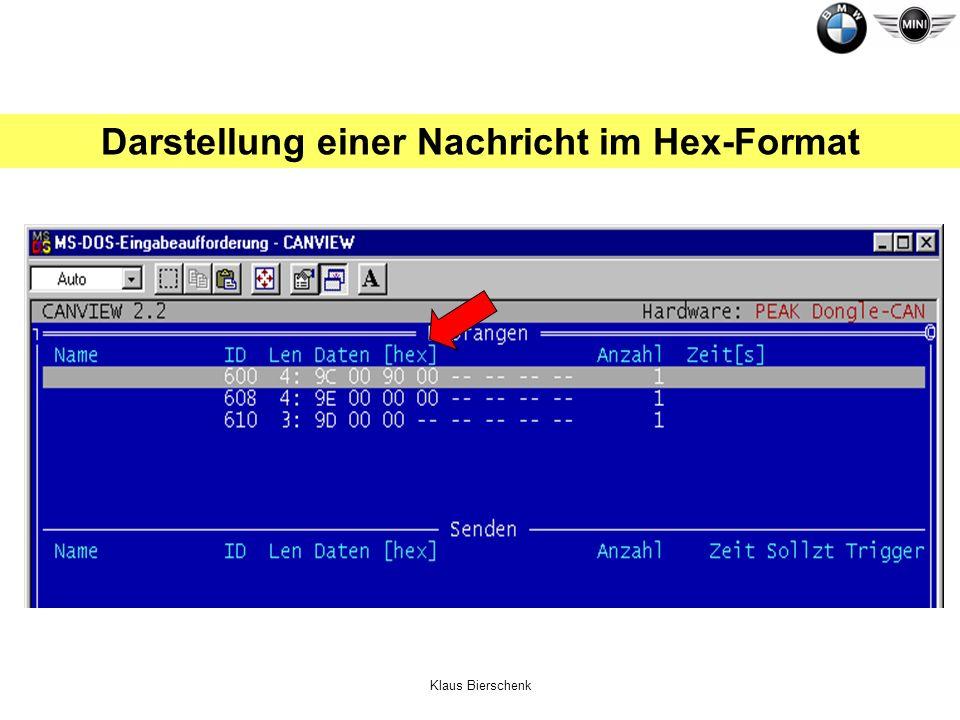 Klaus Bierschenk Darstellung einer Nachricht im Hex-Format