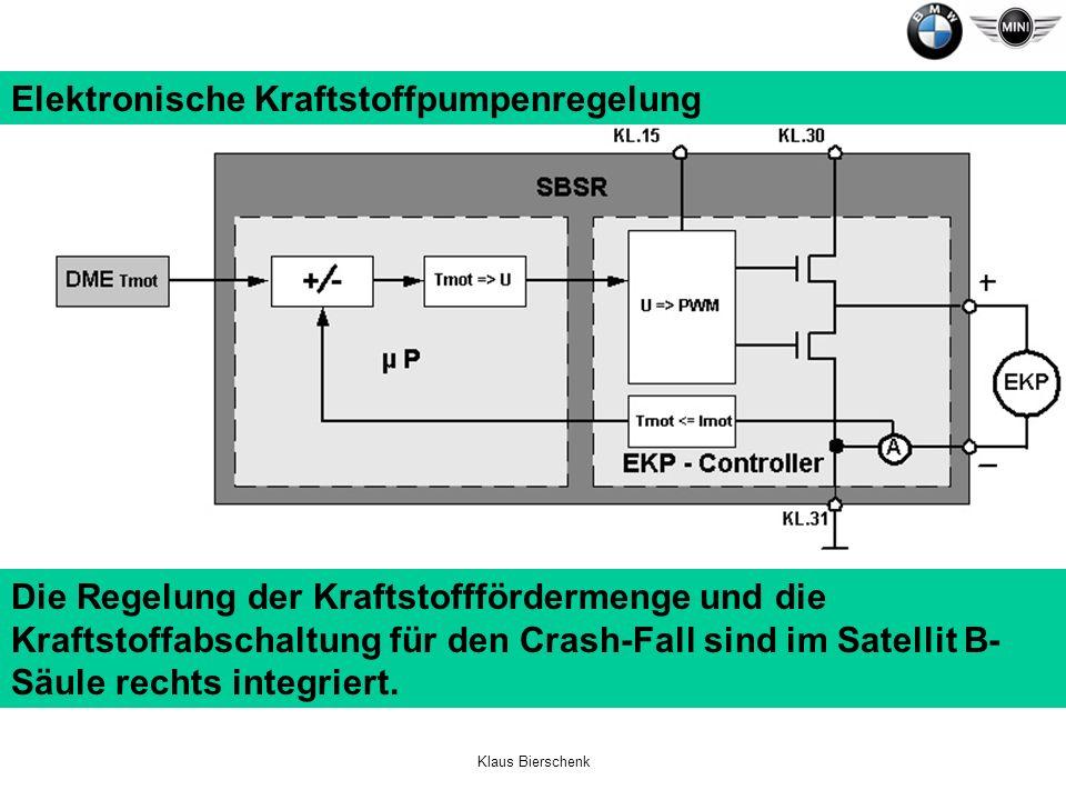 Klaus Bierschenk Elektronische Kraftstoffpumpenregelung Die Regelung der Kraftstofffördermenge und die Kraftstoffabschaltung für den Crash-Fall sind i