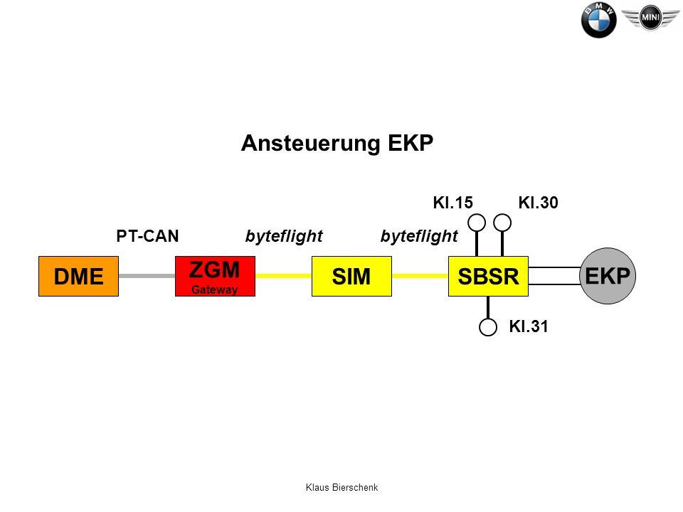 Klaus Bierschenk EKP SBSR Kl.15Kl.30 Kl.31 PT-CANbyteflight DME ZGM Gateway SIM Ansteuerung EKP