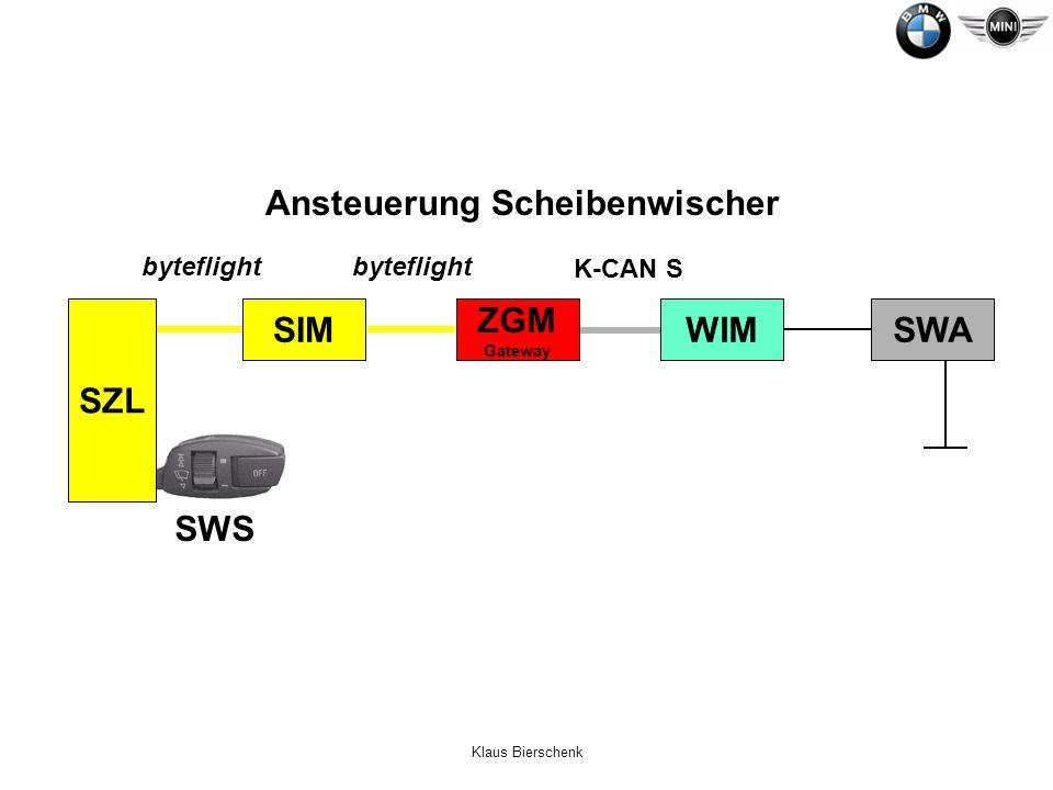 Klaus Bierschenk Ansteuerung Scheibenwischer byteflight K-CAN S SZL SWS SIM ZGM Gateway SWA WIM