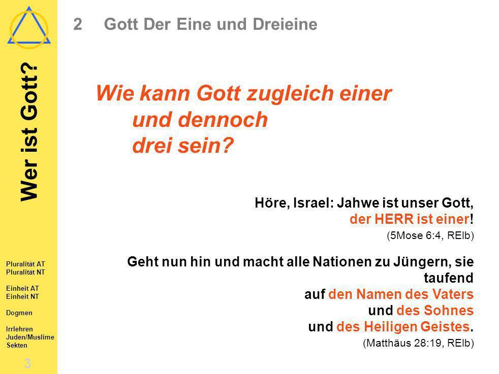 Wer ist Gott? 2 2Gott Der Eine und Dreieine 2.1Die Pluralität Gottes in den Schriften Alten Testaments 2.2Die Pluralität Gottes in den Schriften Neuen