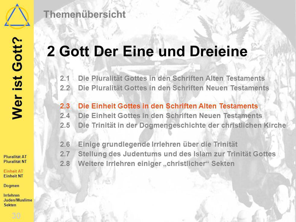 Wer ist Gott? 29 Pluralität AT Pluralität NT Einheit AT Einheit NT Dogmen Irrlehren Juden/Muslime Sekten 2.2Die Pluralität Gottes im NT Das NT lehrt d