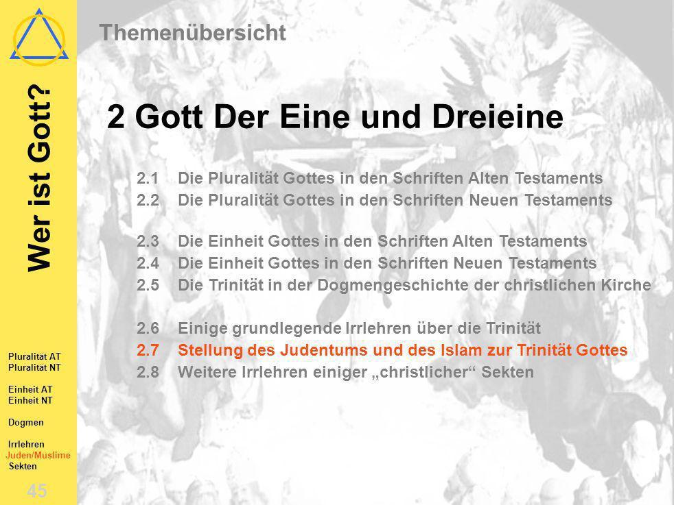 Wer ist Gott? 44 Pluralität AT Pluralität NT Einheit AT Einheit NT Dogmen Irrlehren Juden/Muslime Sekten 2.6Einige grundlegende Irrlehren über die Tri