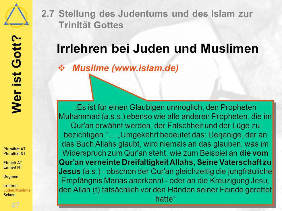 Wer ist Gott? 46 Pluralität AT Pluralität NT Einheit AT Einheit NT Dogmen Irrlehren Juden/Muslime Sekten 2.7Stellung des Judentums und des Islam zur T