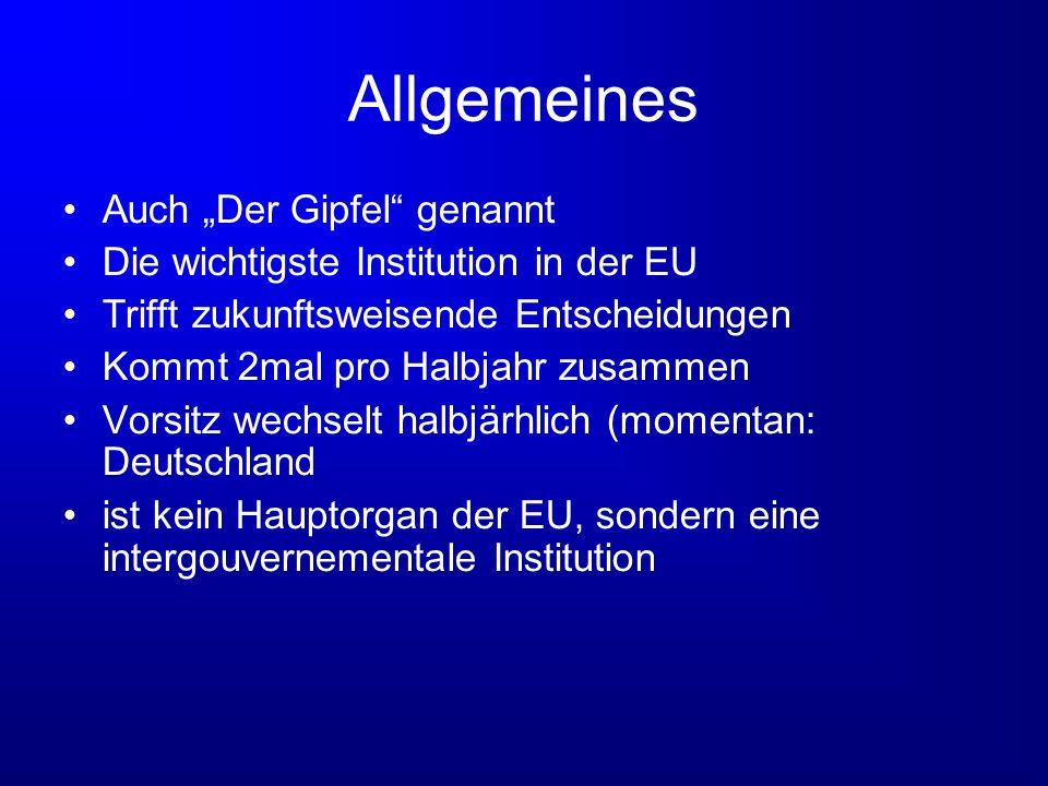 Allgemeines Auch Der Gipfel genannt Die wichtigste Institution in der EU Trifft zukunftsweisende Entscheidungen Kommt 2mal pro Halbjahr zusammen Vorsi