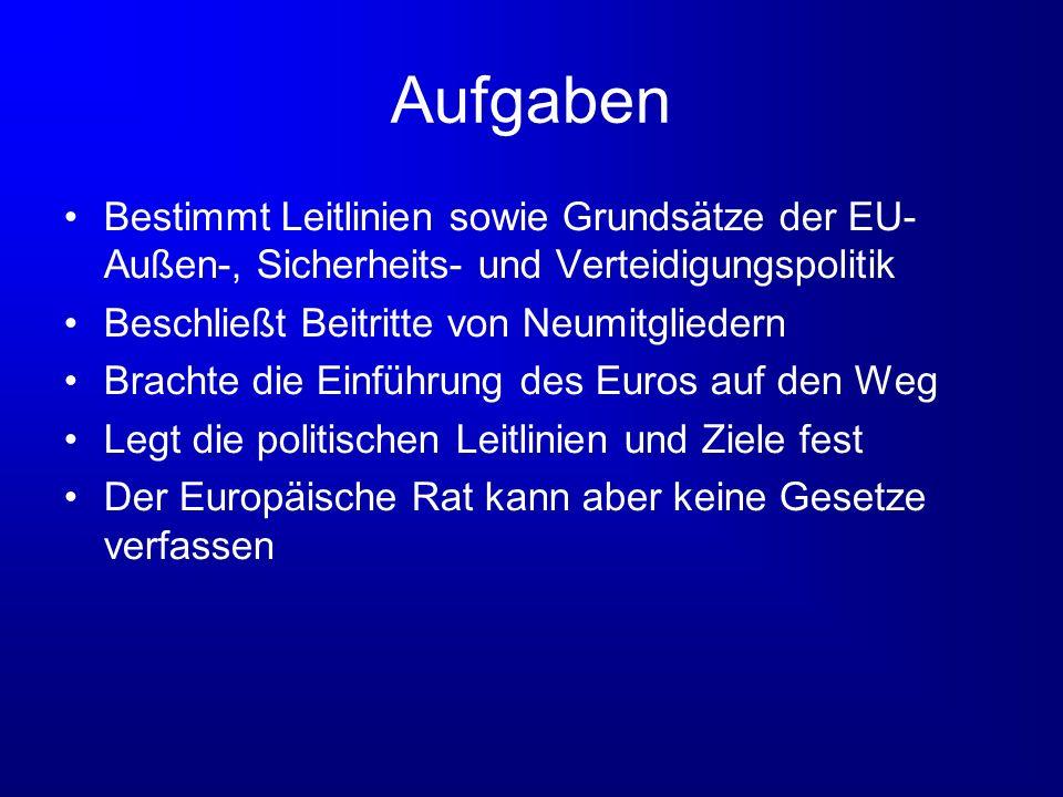 Aufgaben Bestimmt Leitlinien sowie Grundsätze der EU- Außen-, Sicherheits- und Verteidigungspolitik Beschließt Beitritte von Neumitgliedern Brachte di