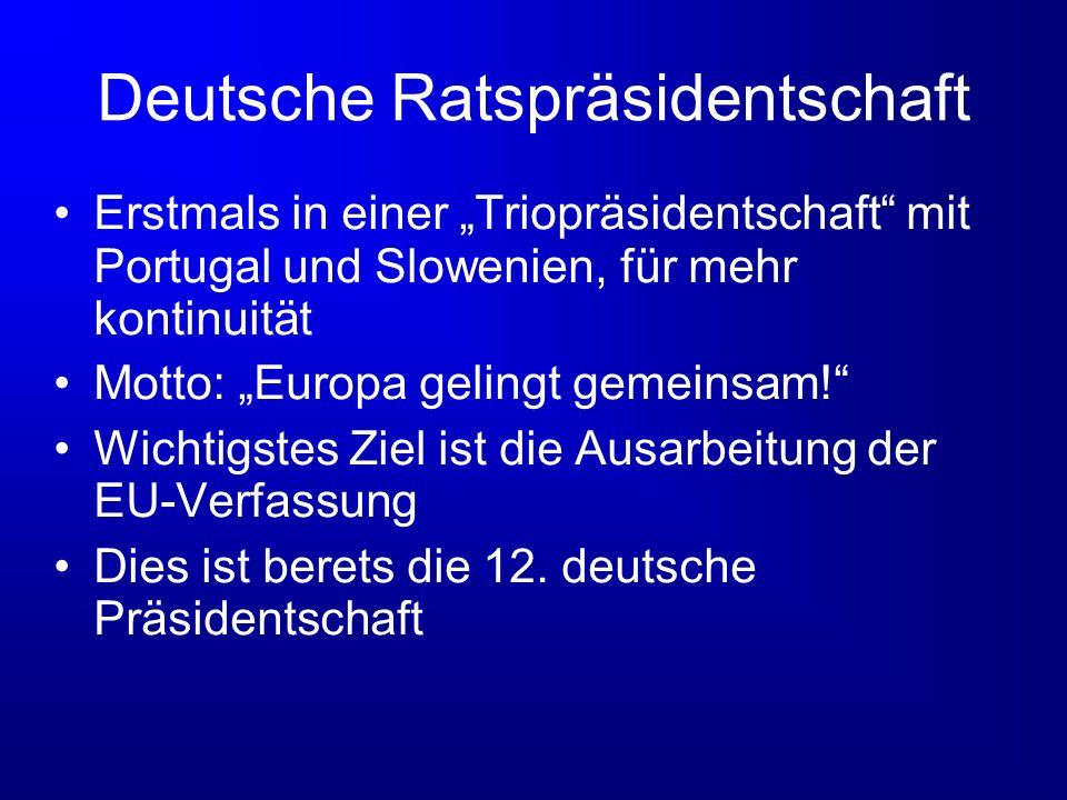 Deutsche Ratspräsidentschaft Erstmals in einer Triopräsidentschaft mit Portugal und Slowenien, für mehr kontinuität Motto: Europa gelingt gemeinsam! W