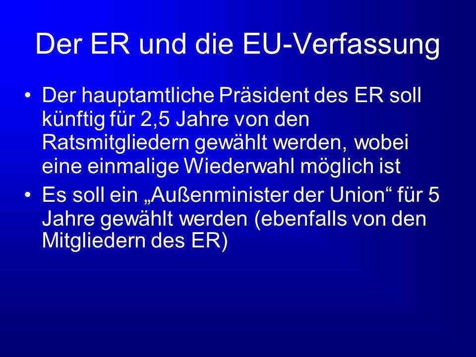 Der ER und die EU-Verfassung Der hauptamtliche Präsident des ER soll künftig für 2,5 Jahre von den Ratsmitgliedern gewählt werden, wobei eine einmalig