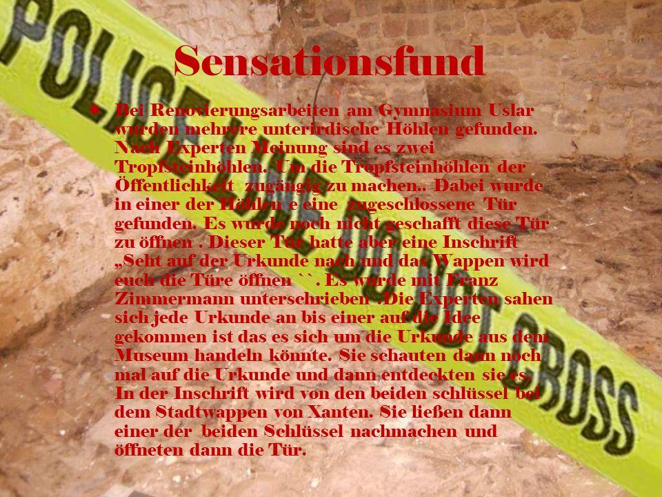Sensationsfund Bei Renovierungsarbeiten am Gymnasium Uslar wurden mehrere unterirdische Höhlen gefunden. Nach Experten Meinung sind es zwei Tropfstein