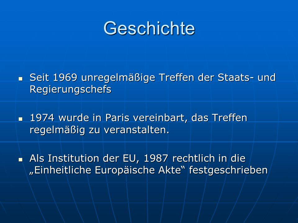 Zusammensetzung Staats- und Regierungschefs der EU Staats- und Regierungschefs der EU Der Präsident der europäischen Kommission Der Präsident der europäischen Kommission Ein Kommissionsmitglied, welches zur Beratung präsent ist.