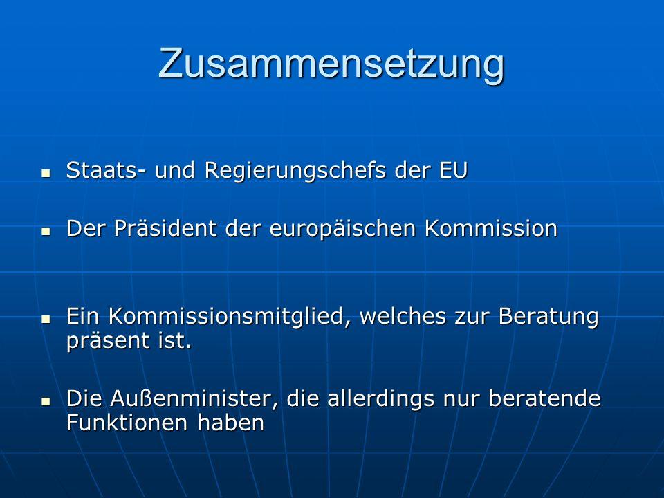 Zusammensetzung Staats- und Regierungschefs der EU Staats- und Regierungschefs der EU Der Präsident der europäischen Kommission Der Präsident der euro