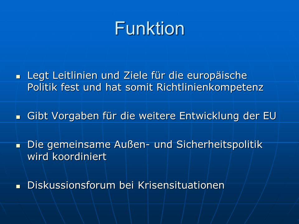 Funktion Legt Leitlinien und Ziele für die europäische Politik fest und hat somit Richtlinienkompetenz Legt Leitlinien und Ziele für die europäische P
