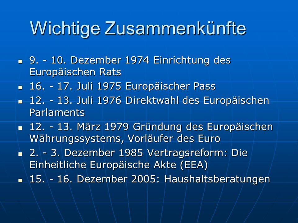 Wichtige Zusammenkünfte 9. - 10. Dezember 1974 Einrichtung des Europäischen Rats 9. - 10. Dezember 1974 Einrichtung des Europäischen Rats 16. - 17. Ju