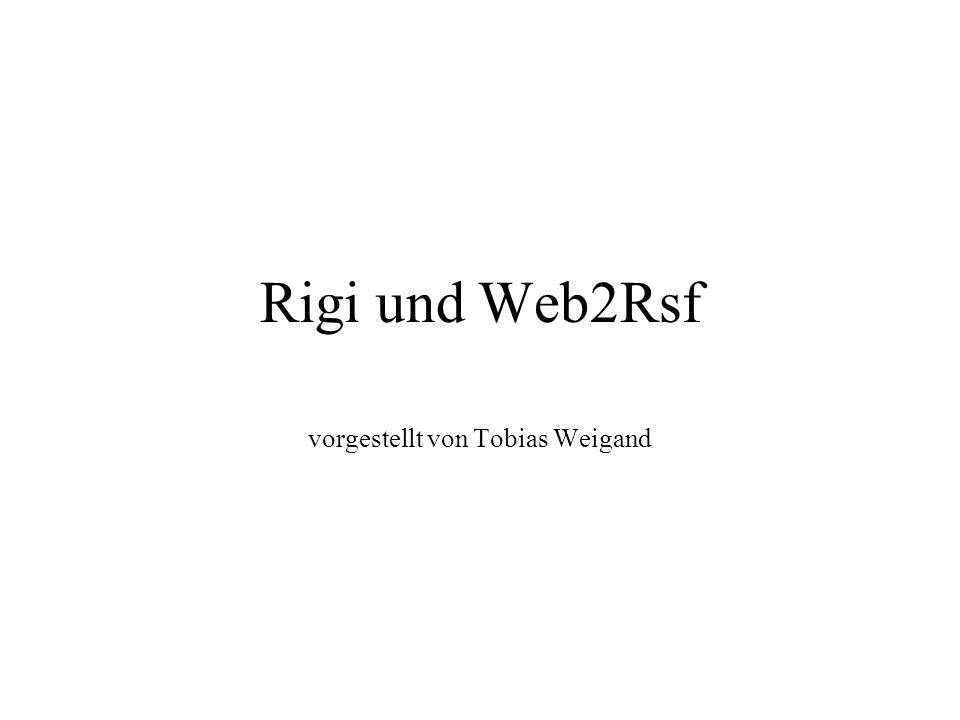 Inhalt Ziel von Web2Rsf und Rigi Vorstellung des Parsers Web2Rsf Vorstellung des Werkzeugs Rigi Analyse des Webplatzes der TUD Analyse einiger Webplätze der Testmenge Autoren Abschlussbemerkung