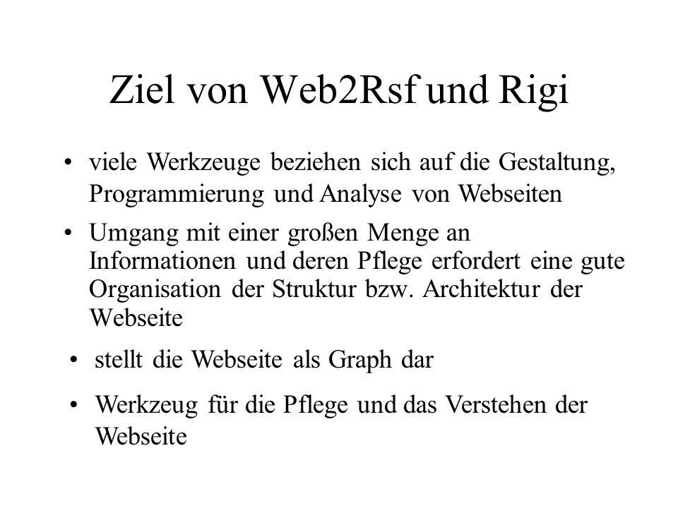 Ziel von Web2Rsf und Rigi Umgang mit einer großen Menge an Informationen und deren Pflege erfordert eine gute Organisation der Struktur bzw.