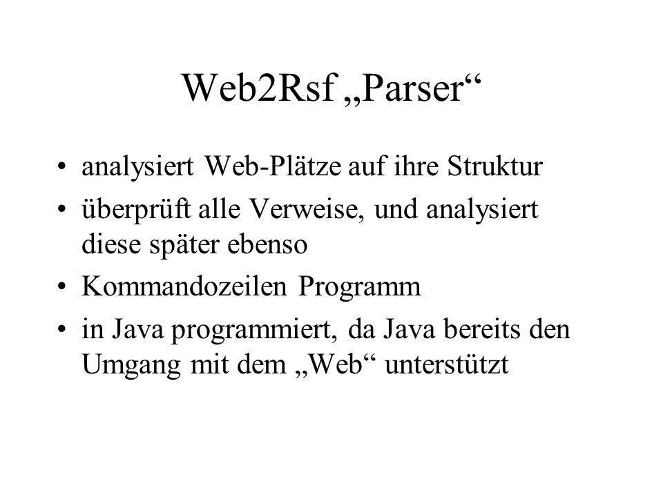 Web2Rsf Parser analysiert Web-Plätze auf ihre Struktur überprüft alle Verweise, und analysiert diese später ebenso Kommandozeilen Programm in Java programmiert, da Java bereits den Umgang mit dem Web unterstützt