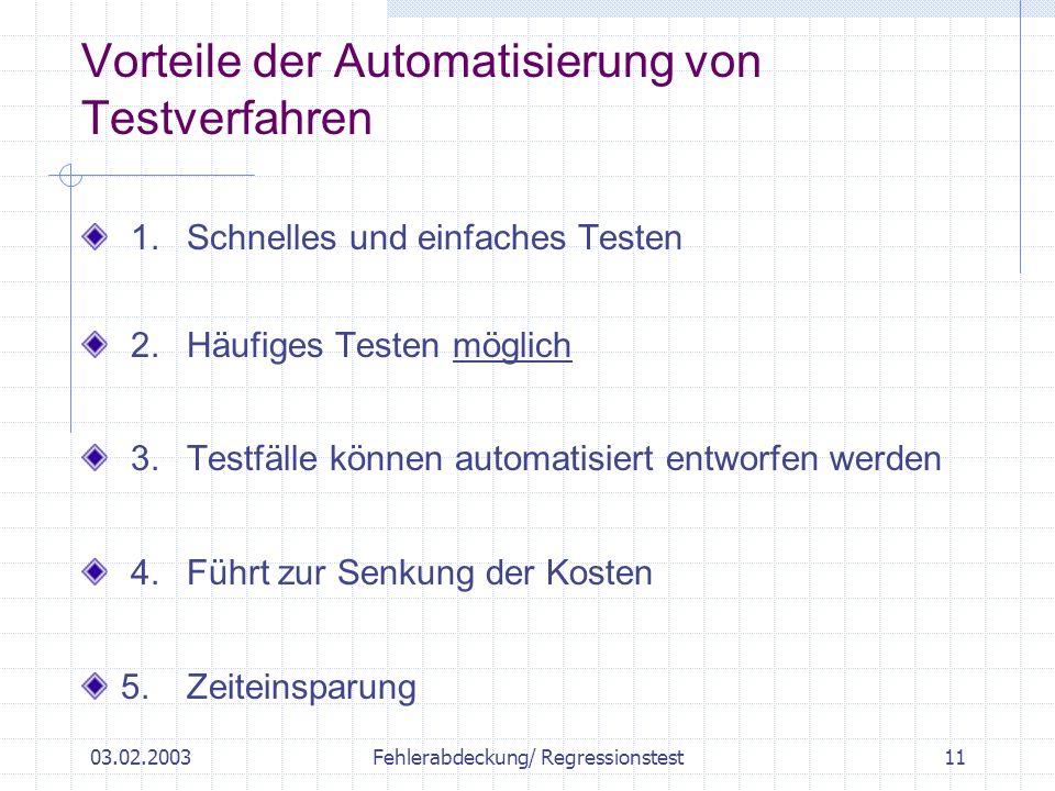 03.02.2003Fehlerabdeckung/ Regressionstest11 Vorteile der Automatisierung von Testverfahren 1.