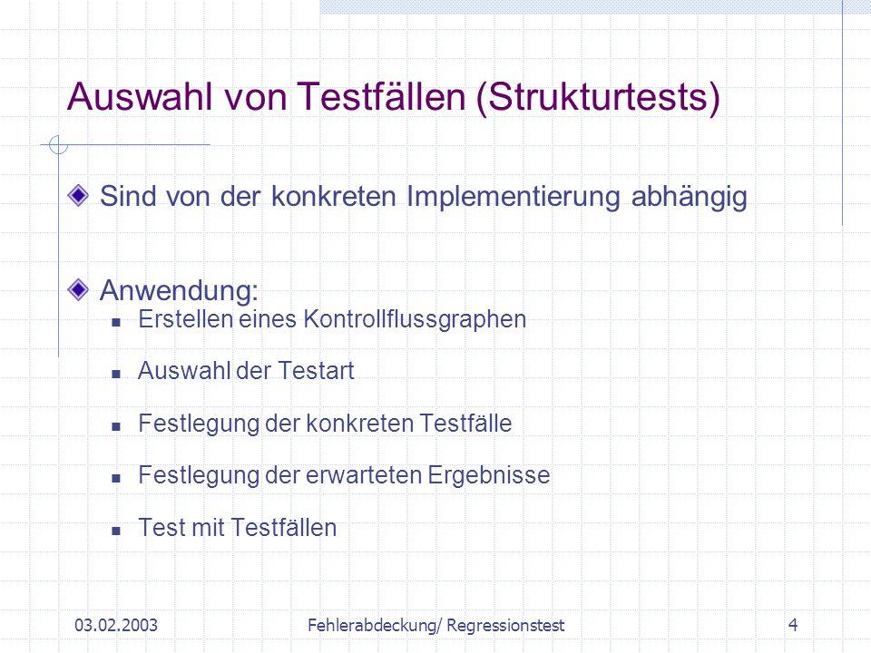 03.02.2003Fehlerabdeckung/ Regressionstest5 Beispielprogramm 1 5 2 4 3 6 7 Procedure alpha() Int c = System.in.read(); While (c>= ´A´ && c<= ´Z´) { { Count += 1; If ( c == `A´ || c == `B` || c== `C`) { Erste +=1; } c = System.in.read(); } Return Erste % Count; }