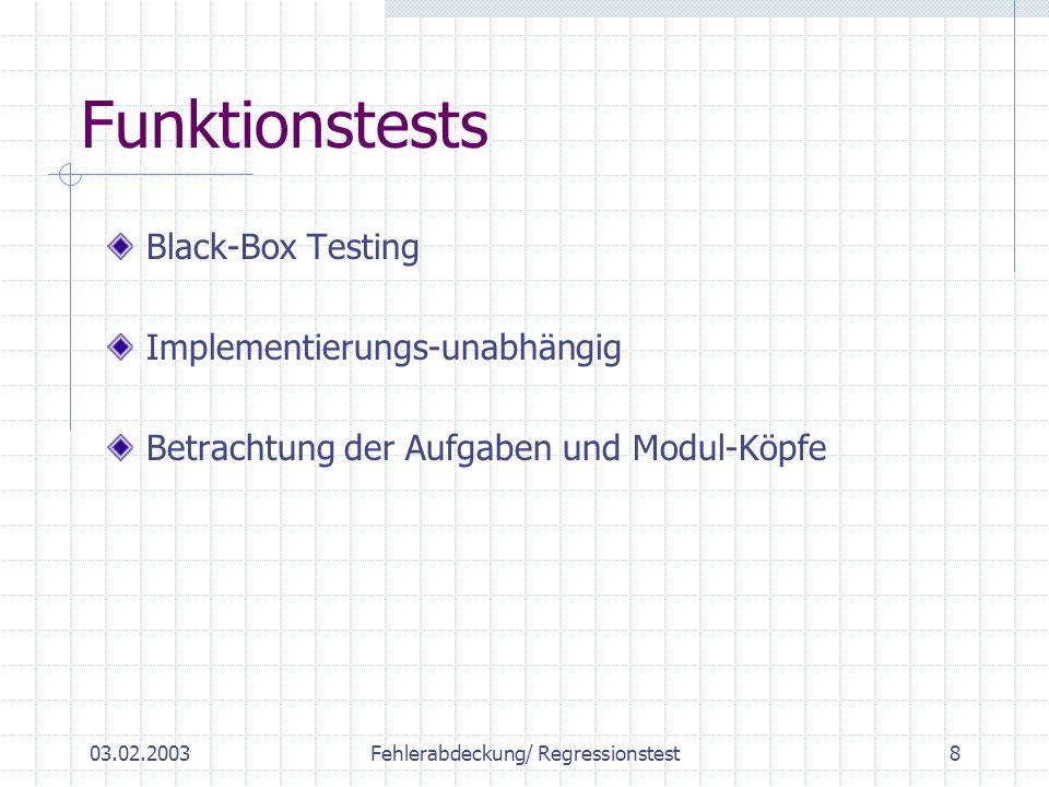 03.02.2003Fehlerabdeckung/ Regressionstest8 Funktionstests Black-Box Testing Implementierungs-unabhängig Betrachtung der Aufgaben und Modul-Köpfe
