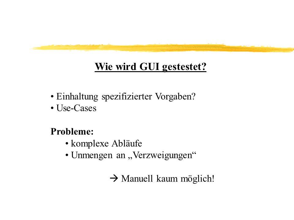 Wie wird GUI gestestet.Einhaltung spezifizierter Vorgaben.