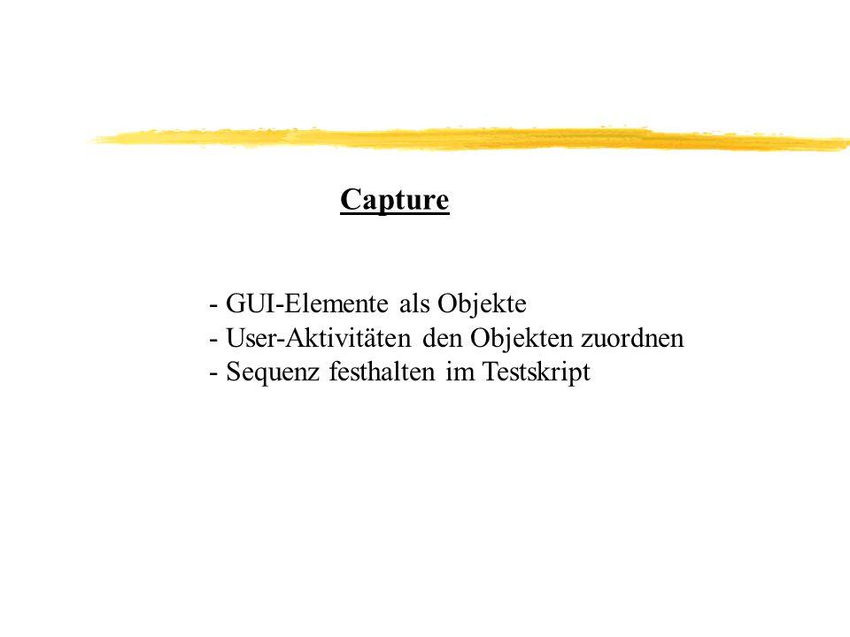 Capture - GUI-Elemente als Objekte - User-Aktivitäten den Objekten zuordnen - Sequenz festhalten im Testskript