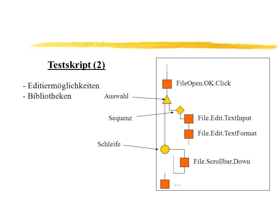 Testskript (2) FileOpen.OK.Click - Editiermöglichkeiten - Bibliotheken Auswahl SequenzFile.Edit.TextInput File.Edit.TextFormat Schleife … File.Scrollbar.Down