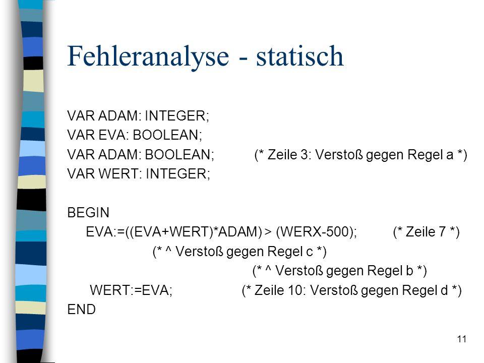 11 Fehleranalyse - statisch VAR ADAM: INTEGER; VAR EVA: BOOLEAN; VAR ADAM: BOOLEAN; (* Zeile 3: Verstoß gegen Regel a *) VAR WERT: INTEGER; BEGIN EVA: