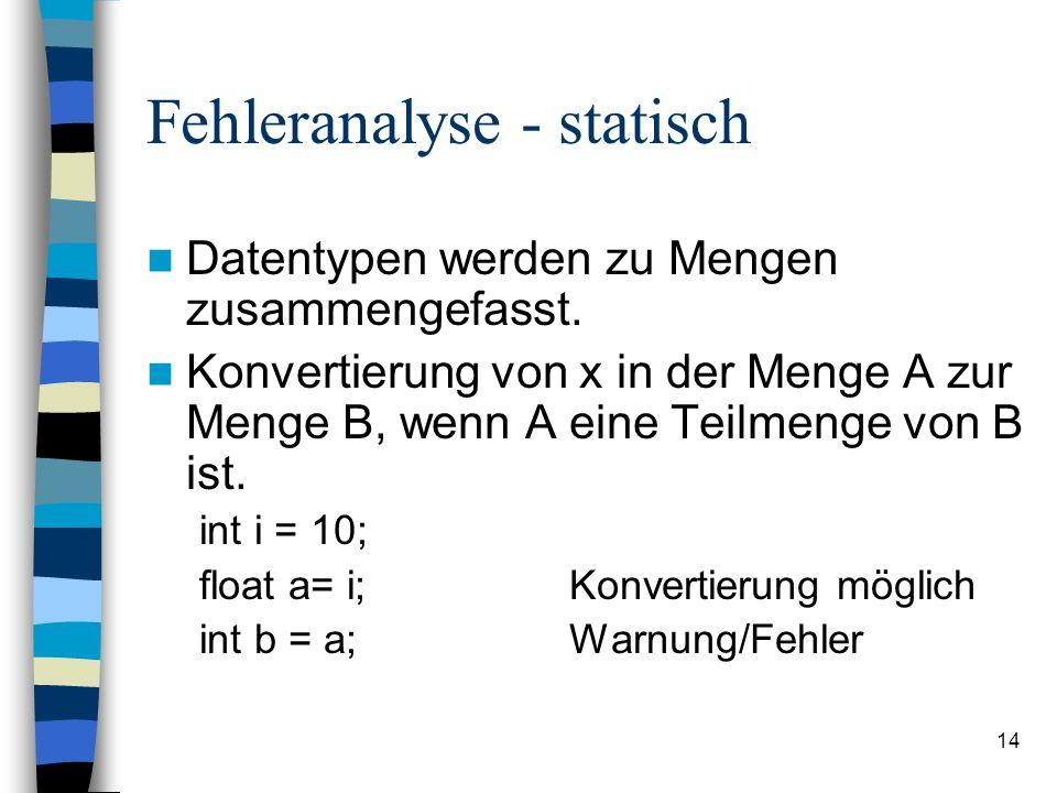 14 Fehleranalyse - statisch Datentypen werden zu Mengen zusammengefasst. Konvertierung von x in der Menge A zur Menge B, wenn A eine Teilmenge von B i