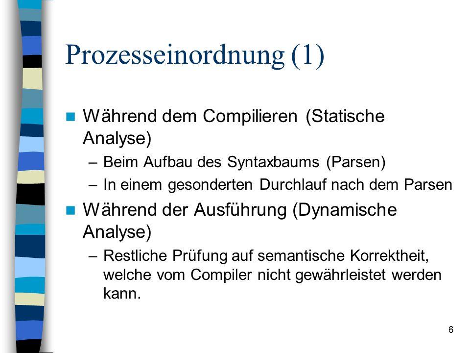 6 Prozesseinordnung (1) Während dem Compilieren (Statische Analyse) –Beim Aufbau des Syntaxbaums (Parsen) –In einem gesonderten Durchlauf nach dem Par