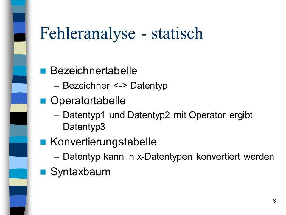8 Fehleranalyse - statisch Bezeichnertabelle –Bezeichner Datentyp Operatortabelle –Datentyp1 und Datentyp2 mit Operator ergibt Datentyp3 Konvertierung
