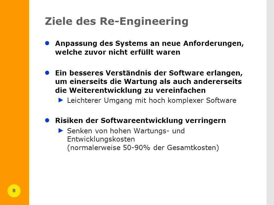 8 Ziele des Re-Engineering Anpassung des Systems an neue Anforderungen, welche zuvor nicht erfüllt waren Ein besseres Verständnis der Software erlange