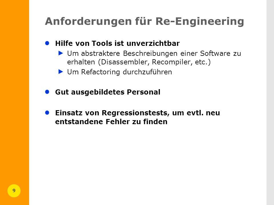 9 Anforderungen für Re-Engineering Hilfe von Tools ist unverzichtbar Um abstraktere Beschreibungen einer Software zu erhalten (Disassembler, Recompile
