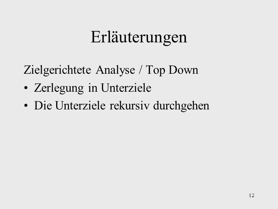 12 Erläuterungen Zielgerichtete Analyse / Top Down Zerlegung in Unterziele Die Unterziele rekursiv durchgehen