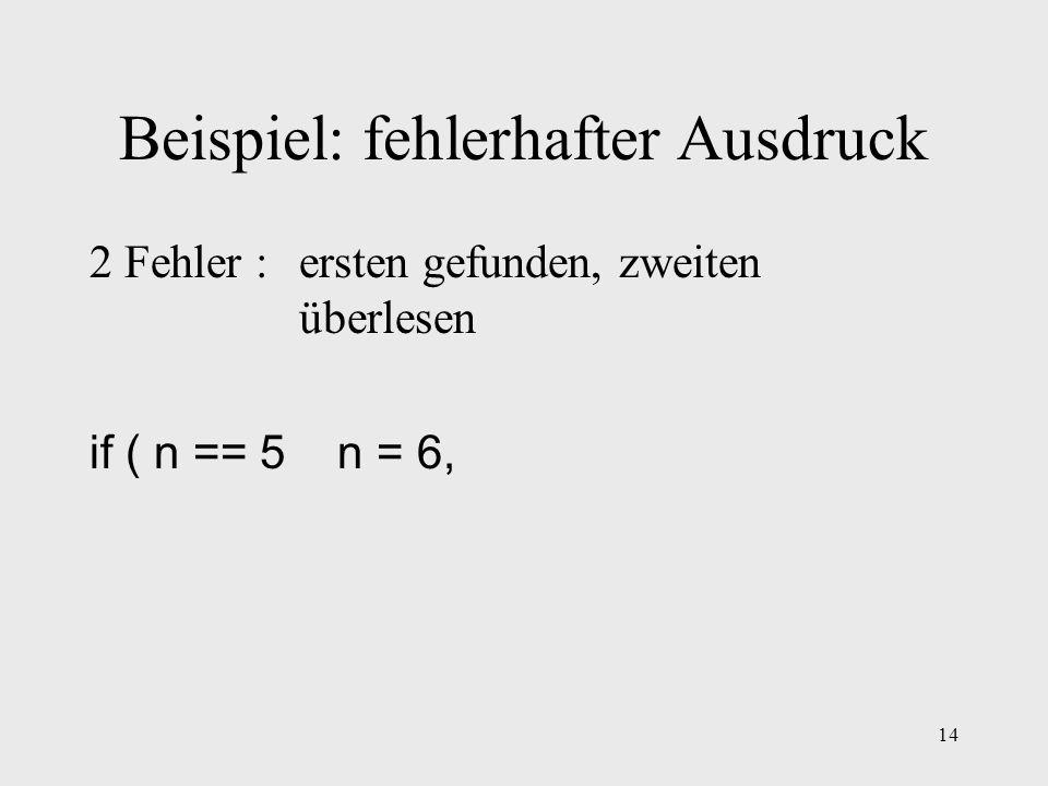 14 Beispiel: fehlerhafter Ausdruck 2 Fehler : ersten gefunden, zweiten überlesen if ( n == 5 n = 6,