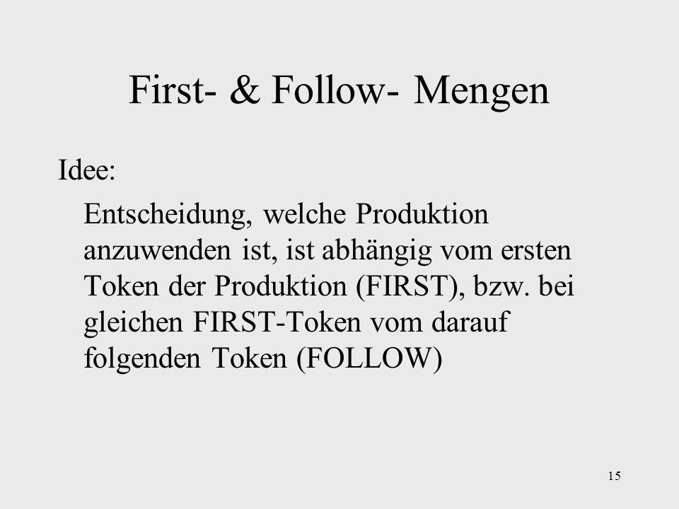 15 First- & Follow- Mengen Idee: Entscheidung, welche Produktion anzuwenden ist, ist abhängig vom ersten Token der Produktion (FIRST), bzw. bei gleich