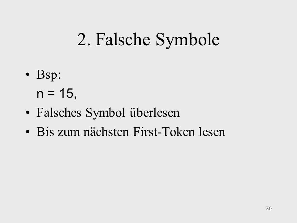 20 2. Falsche Symbole Bsp: n = 15, Falsches Symbol überlesen Bis zum nächsten First-Token lesen