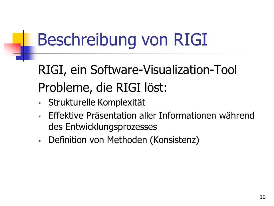 10 Beschreibung von RIGI RIGI, ein Software-Visualization-Tool Probleme, die RIGI löst: Strukturelle Komplexität Effektive Präsentation aller Informationen während des Entwicklungsprozesses Definition von Methoden (Konsistenz)