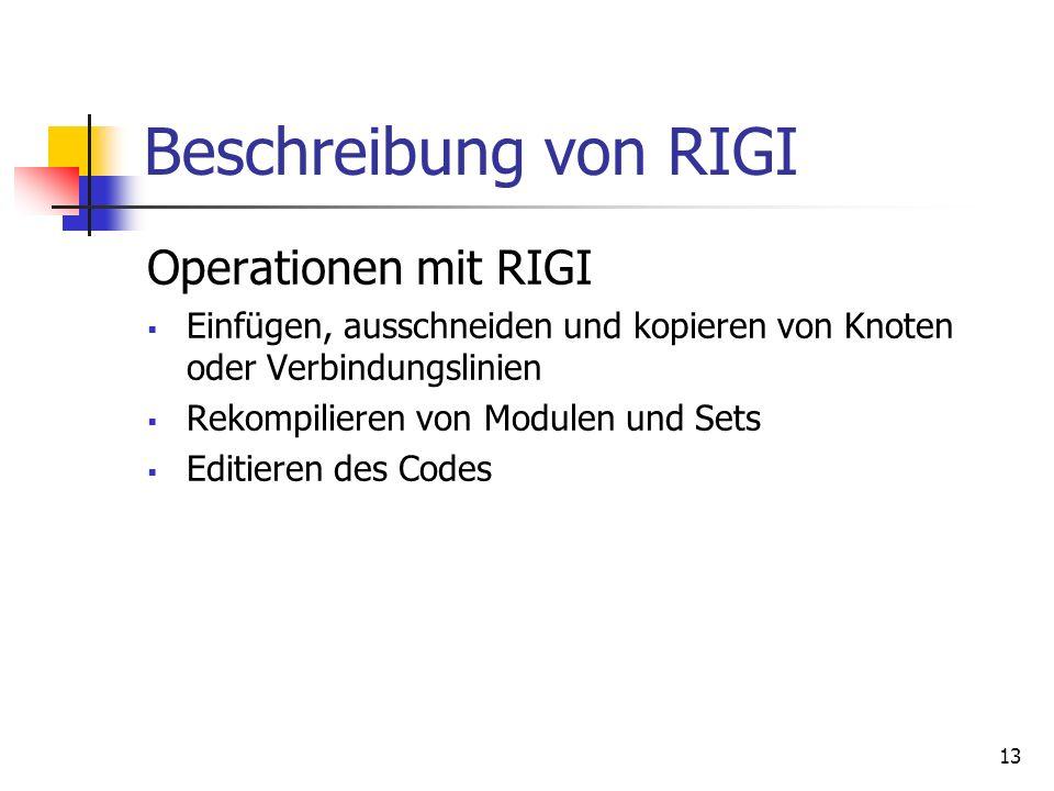 13 Beschreibung von RIGI Operationen mit RIGI Einfügen, ausschneiden und kopieren von Knoten oder Verbindungslinien Rekompilieren von Modulen und Sets Editieren des Codes