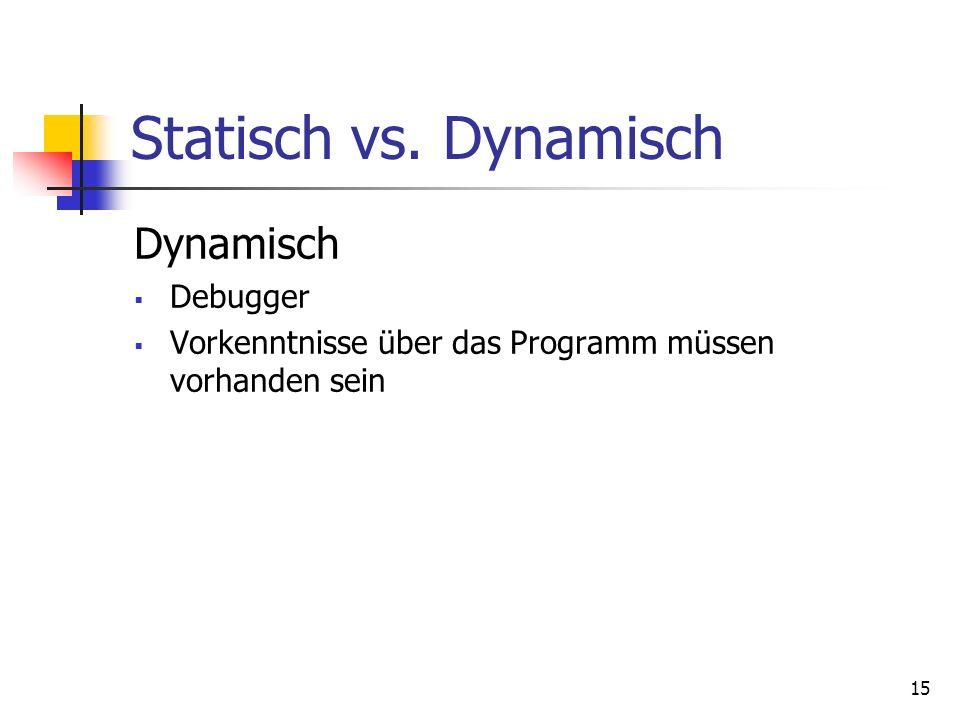 15 Statisch vs. Dynamisch Dynamisch Debugger Vorkenntnisse über das Programm müssen vorhanden sein