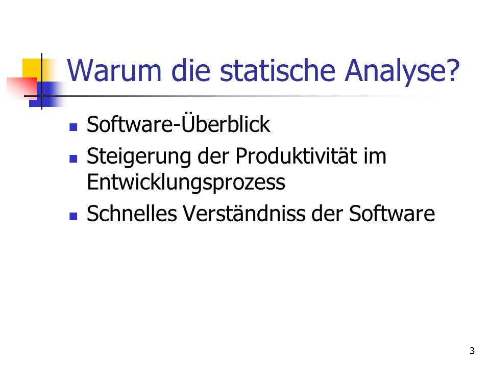 3 Software-Überblick Steigerung der Produktivität im Entwicklungsprozess Schnelles Verständniss der Software Warum die statische Analyse
