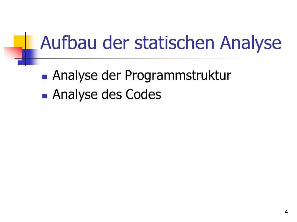 4 Aufbau der statischen Analyse Analyse der Programmstruktur Analyse des Codes