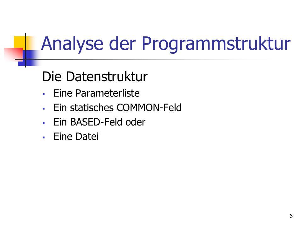 6 Analyse der Programmstruktur Die Datenstruktur Eine Parameterliste Ein statisches COMMON-Feld Ein BASED-Feld oder Eine Datei