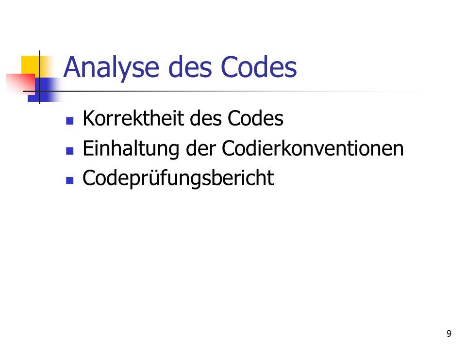 9 Analyse des Codes Korrektheit des Codes Einhaltung der Codierkonventionen Codeprüfungsbericht