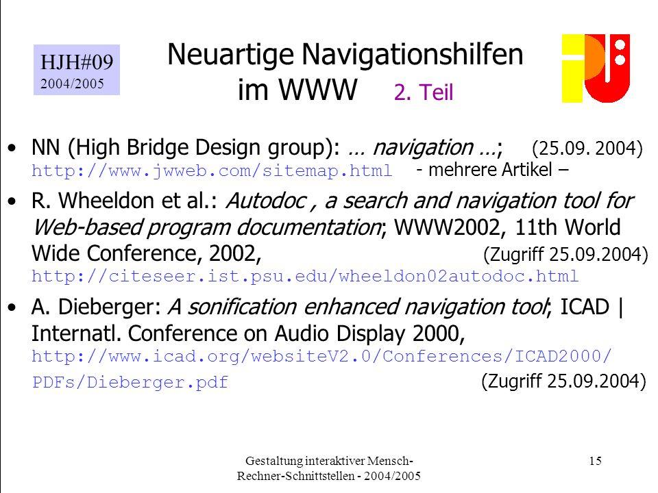 Gestaltung interaktiver Mensch- Rechner-Schnittstellen - 2004/2005 15 Neuartige Navigationshilfen im WWW 2.