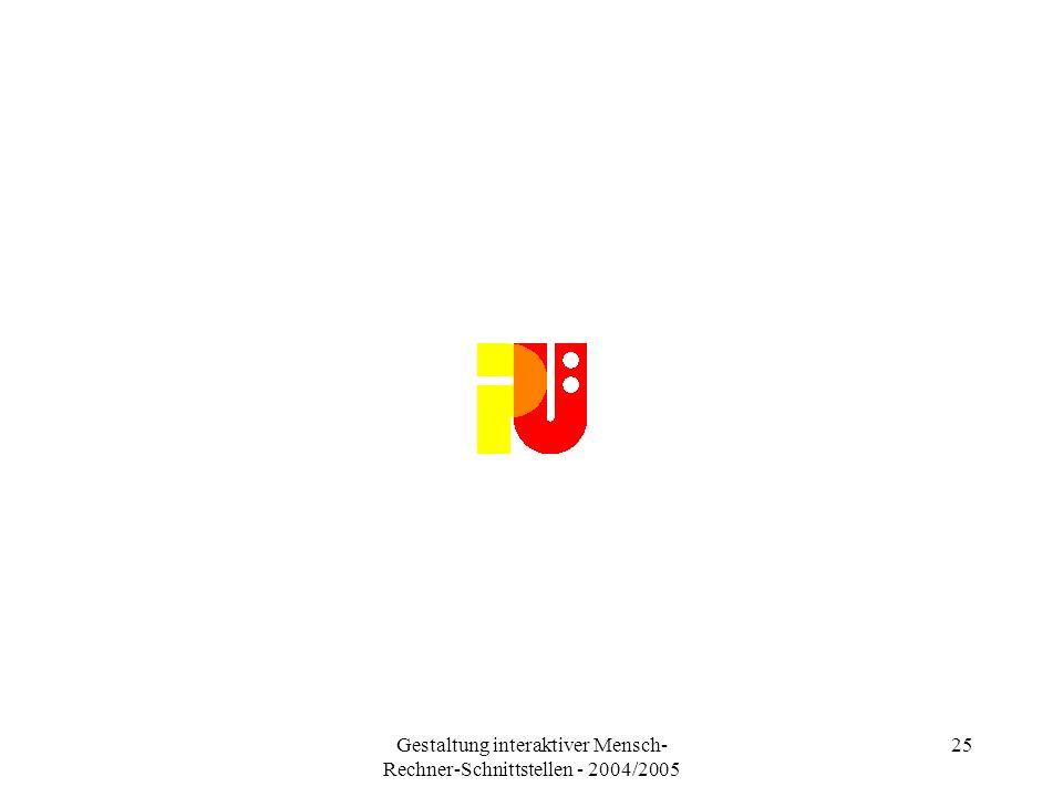 Gestaltung interaktiver Mensch- Rechner-Schnittstellen - 2004/2005 25