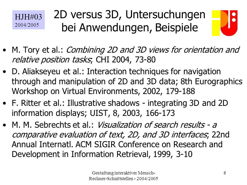 Gestaltung interaktiver Mensch- Rechner-Schnittstellen - 2004/2005 8 2D versus 3D, Untersuchungen bei Anwendungen, Beispiele M.