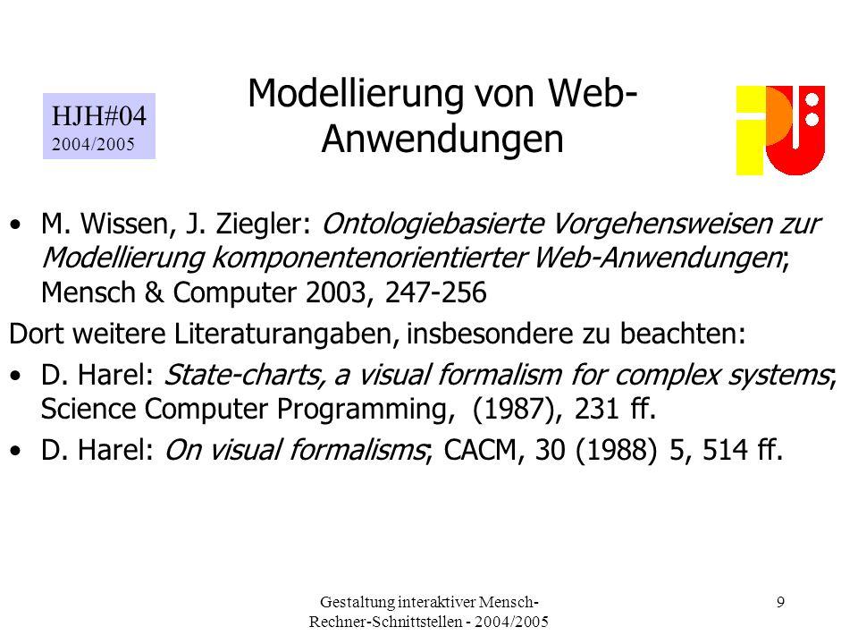 Gestaltung interaktiver Mensch- Rechner-Schnittstellen - 2004/2005 9 Modellierung von Web- Anwendungen M.