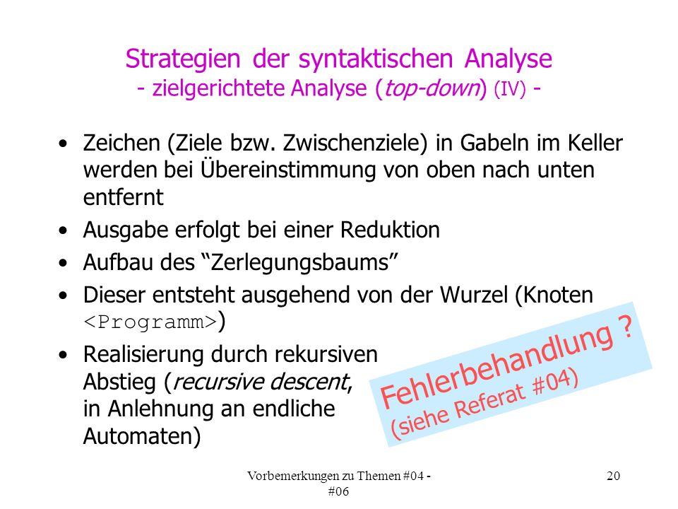 Vorbemerkungen zu Themen #04 - #06 20 Strategien der syntaktischen Analyse - zielgerichtete Analyse (top-down) (IV) - Zeichen (Ziele bzw.