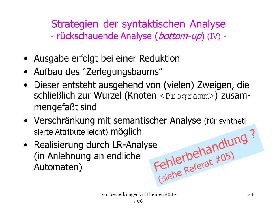 Vorbemerkungen zu Themen #04 - #06 24 Strategien der syntaktischen Analyse - rückschauende Analyse (bottom-up) (IV) - Ausgabe erfolgt bei einer Reduktion Aufbau des Zerlegungsbaums Dieser entsteht ausgehend von (vielen) Zweigen, die schließlich zur Wurzel (Knoten ) zusam- mengefaßt sind Verschränkung mit semantischer Analyse (für syntheti- sierte Attribute leicht) möglich Realisierung durch LR-Analyse (in Anlehnung an endliche Automaten) Fehlerbehandlung .